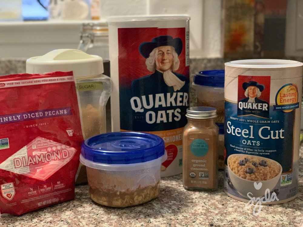 Oatmeal Prep: 1/4C Old Fashioned Oats, 1-2T Steel Cut Oats, 1/4tsp Cinnamon, 1T Pecans, and Brown Sugar to taste in 1/2C Water