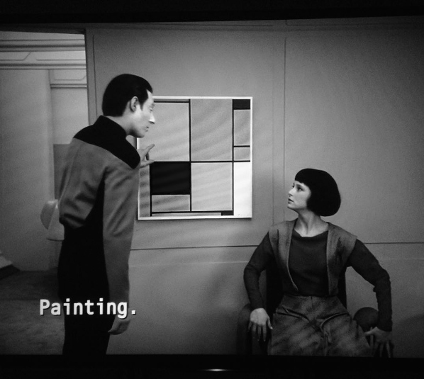 Still (with subtitles) from Star Trek: The Next Generation, 'The Offspring', season 3/ episode 16, 1990. Director: Jonathan Frakes. Writer: René Echevarria. 45 minutes. Image: James Merrigan.