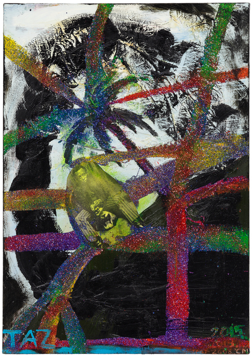 CHRIS MARTIN'S TAZ (2007-2015) portrays virtuoso Jazz musician Myles Davis amid palm trees and glitter and paint. The painting was on show in 2015 in the Chris Martin solo exhibition at the Douglas Hyde Gallery, Dublin.
