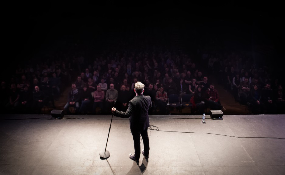 Stewart Lee on stage.
