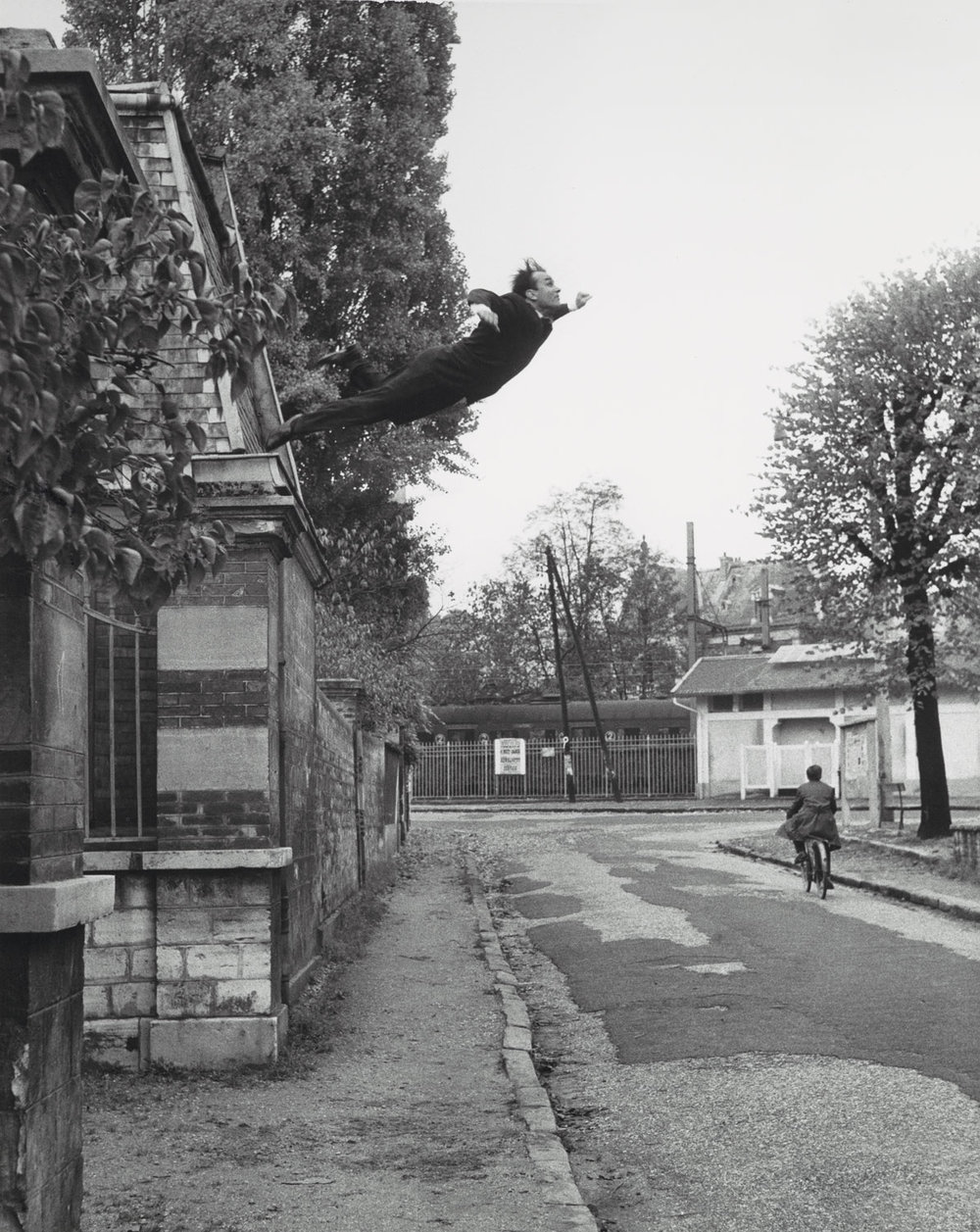 Artistic action  Leap into the Void  by Yves Klein, Gelatin silver print, 1960.