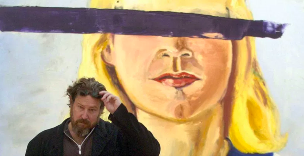 JULIAN SCHNABEL IN FRONT OF HIS  LARGE GIRL WITH NO EYES , 2001, OIL ON WAX ON CANVAS, 411.5 X 376CM