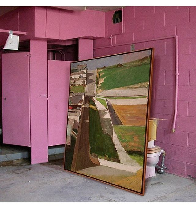 When the renovations haven't started but you own great art @greatartinuglyrooms #butartfirst 🚽 #diebenkorn