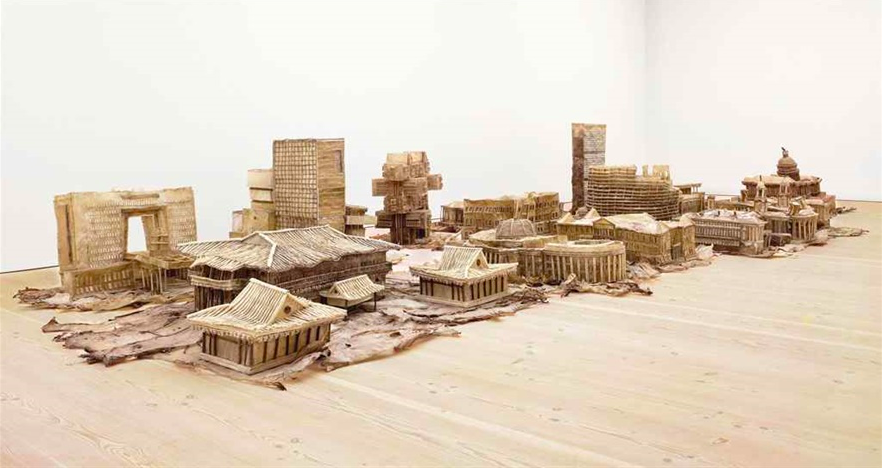 Liu Wei,  Love It ! Bite It ! , 2005-2007 (series of monuments made of dog chews) © Long March Space