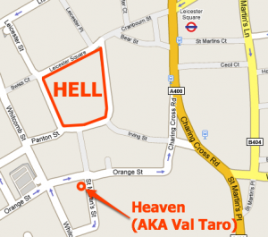 Map of Val Taro bar and restaurant, Leicester Square.