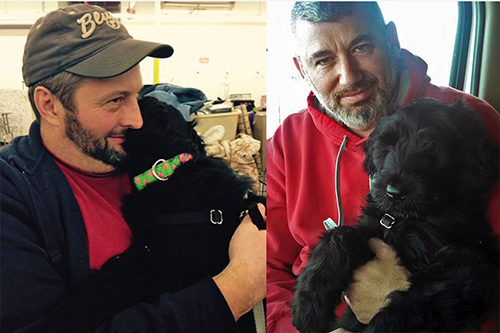 Baby Ziva (Guardian Bears Aurora Borealis) with owners Brian and Steven