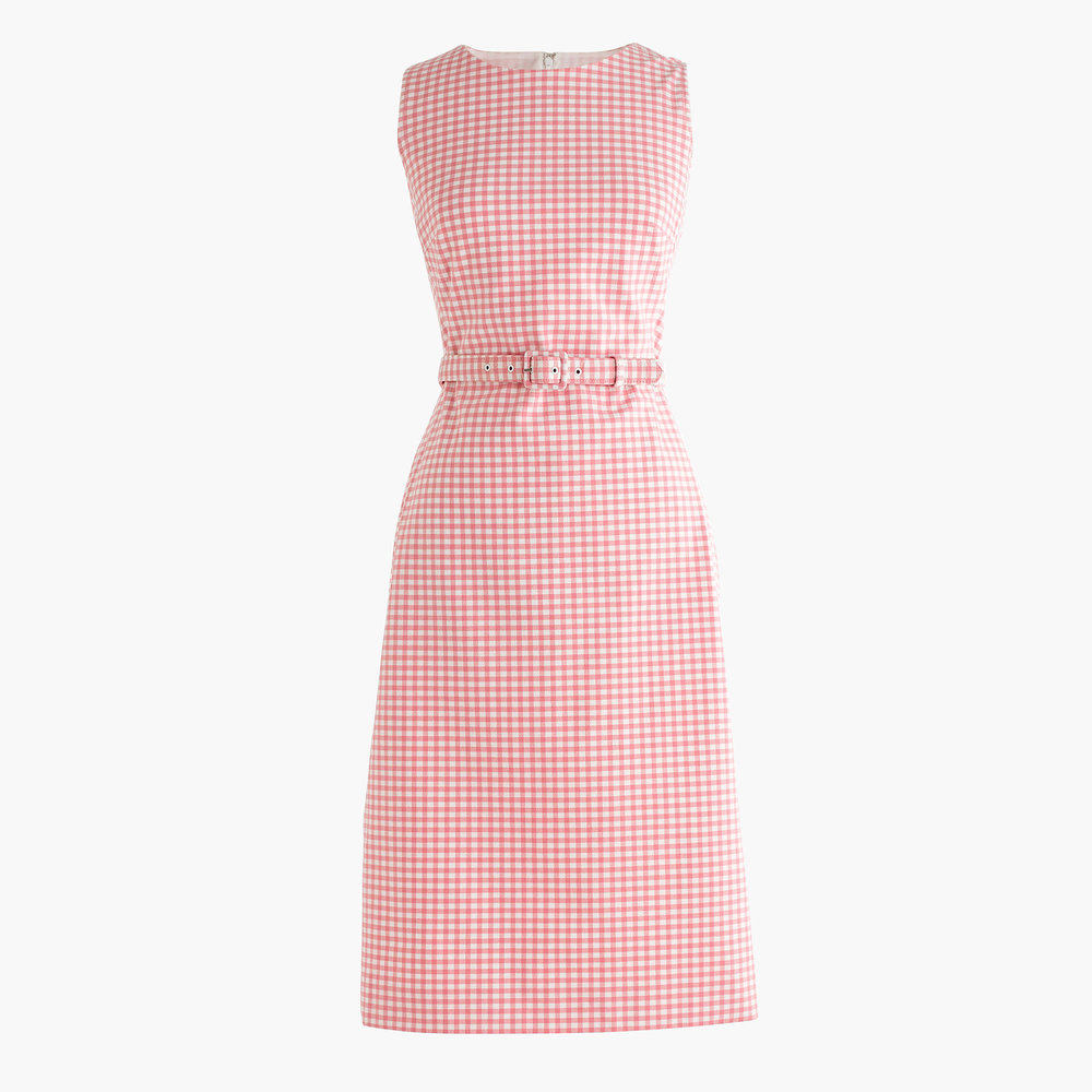 Petite Belted Gingham Dress | J. Crew $158