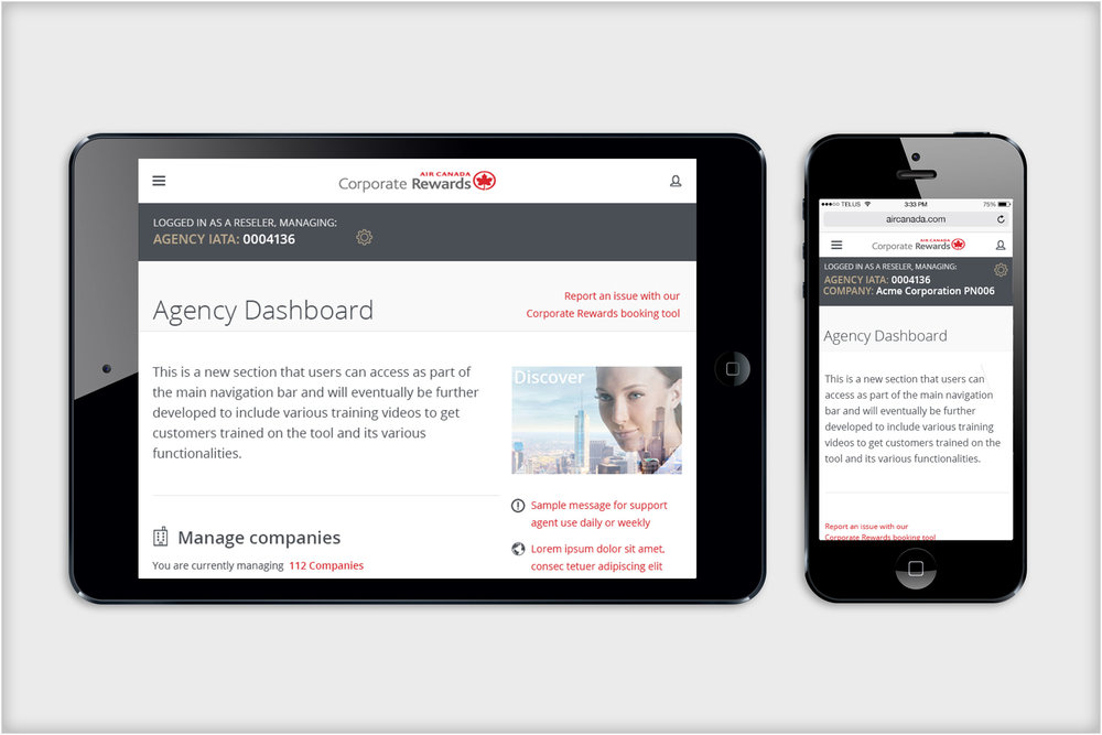 Air Canada Corporate Rewards site  - design for tablet and mobile layouts