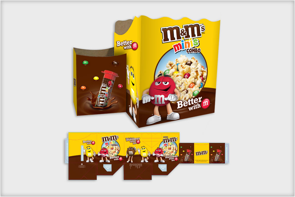 M&M's  - Cineplex popcorn + drink carrying box