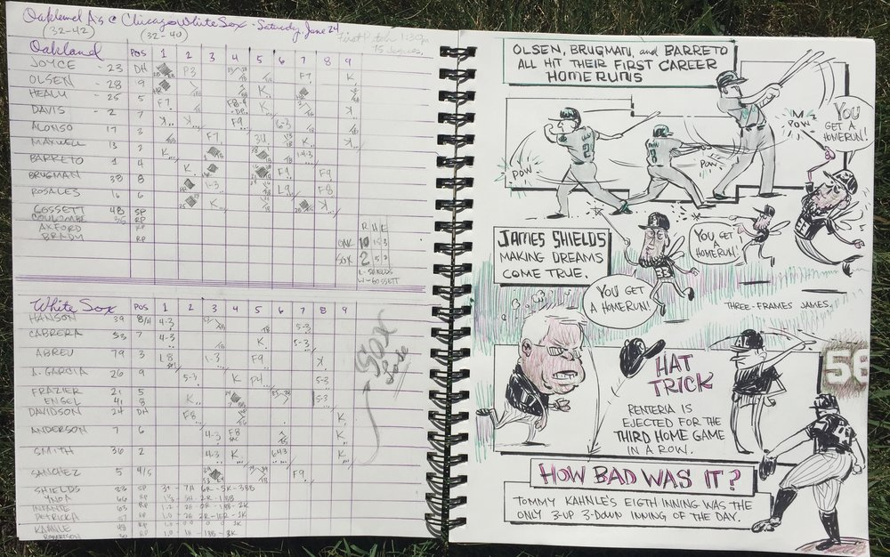 The final sketchbook/scorecard.