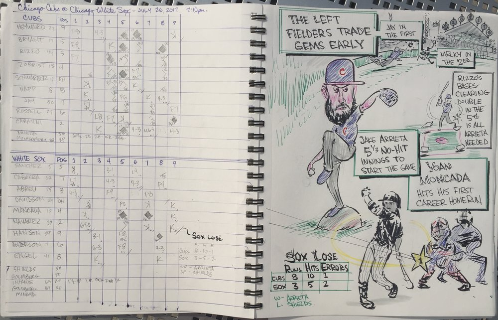 Sketchbook scorebook. Yoan Moncada's first career home run. Not a great game, otherwise, for the Good Guys.