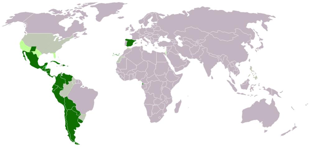 Spanish Speaking Countries around the globe   https://commons.wikimedia.org/wiki/File:Map-Hispanophone_World_andIsrael.png