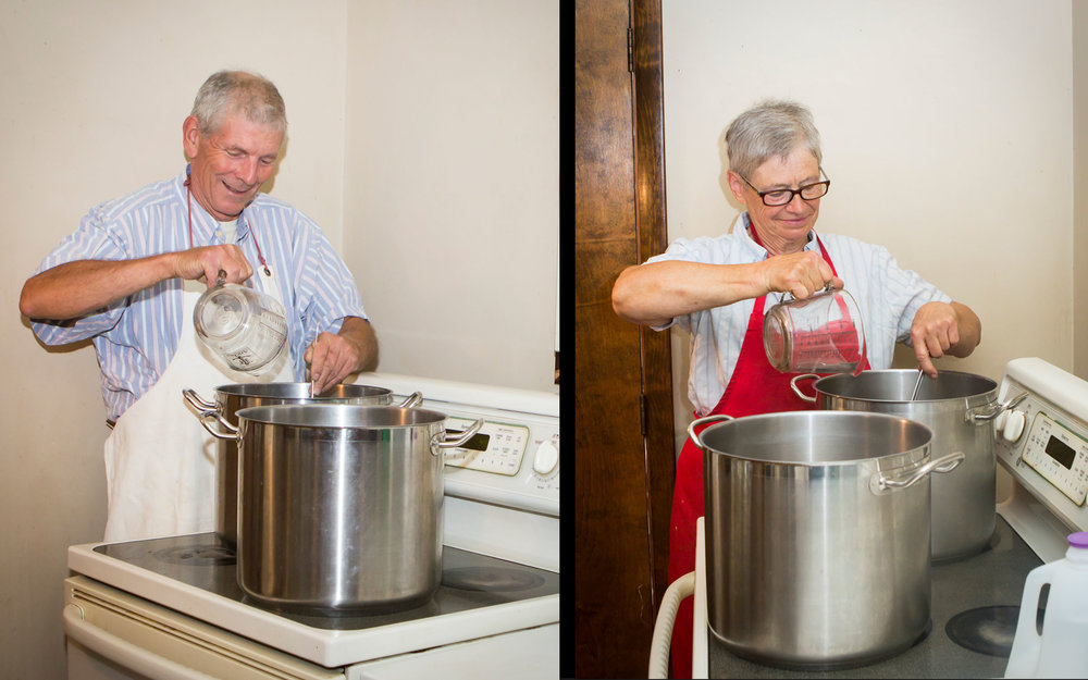 Rod and Susan making syrup. -
