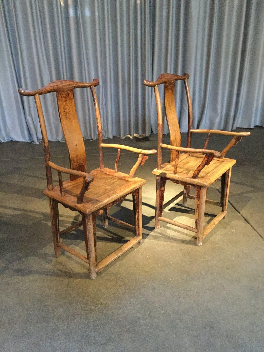 Chinese Yoke back Hat Chairs $800.00 pair