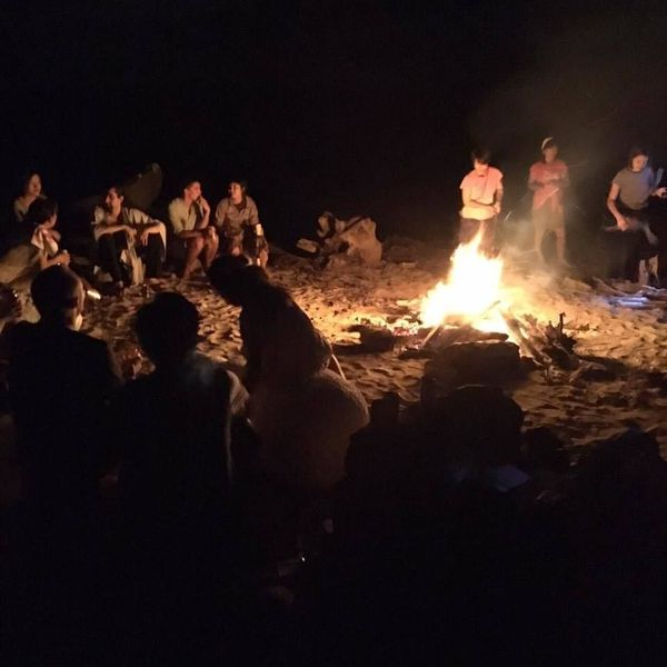 Sitting around the camp fire with LIVE MUSIC...drums, Japanese taiko, junbe, guitar, violin....and more.