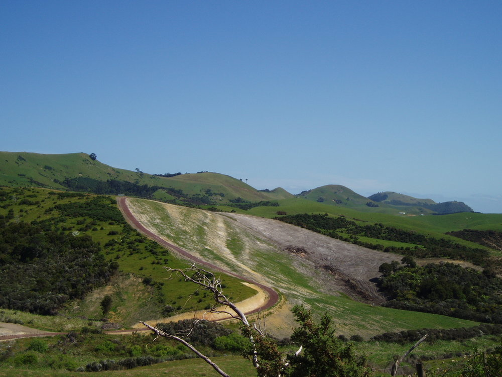 The road to Awaawaroa Ecovillage.