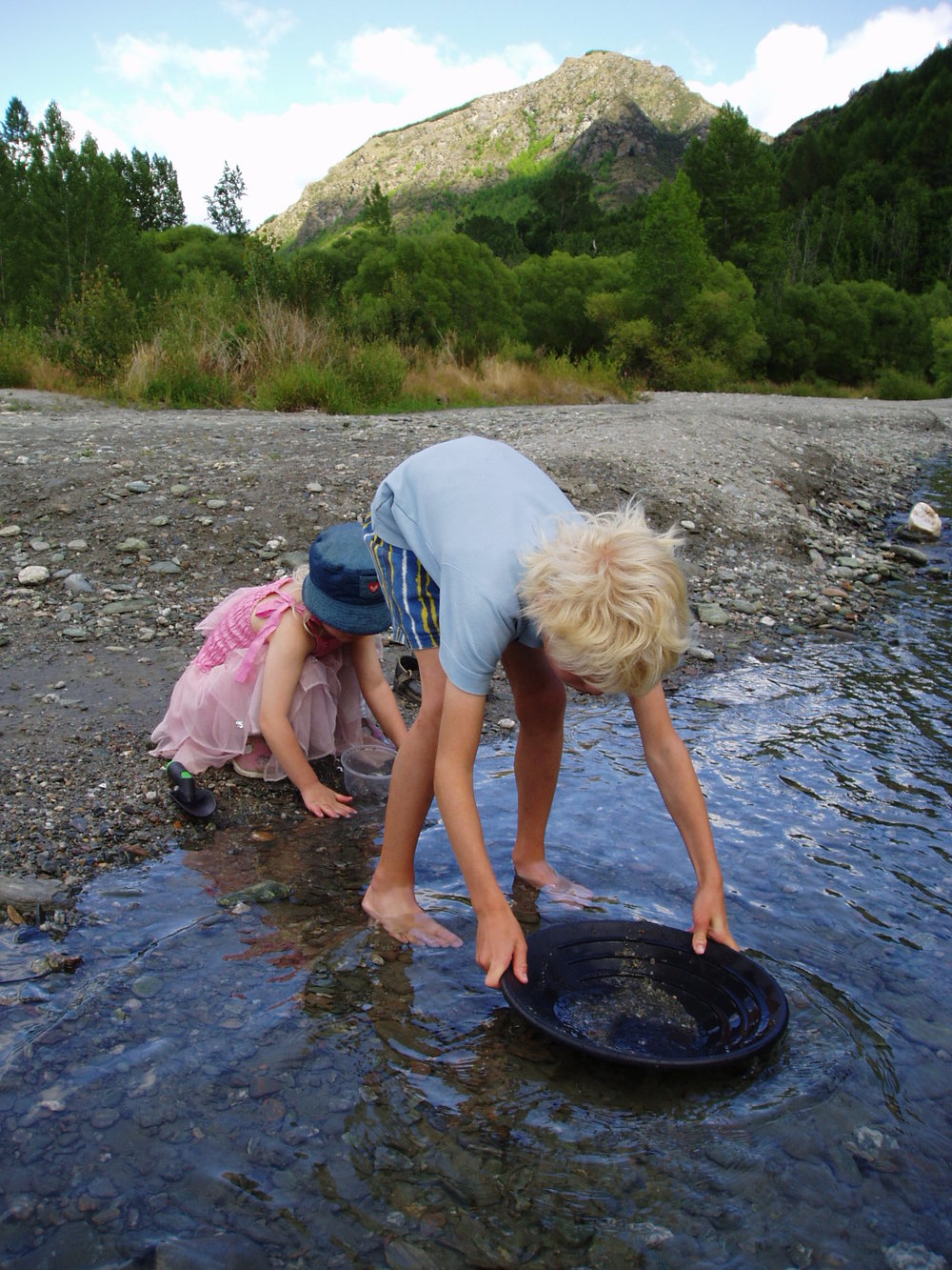 Panning for gold near Arrowtown.