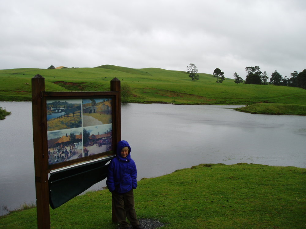 Joe, aged seven, Hobbiton film site 2003