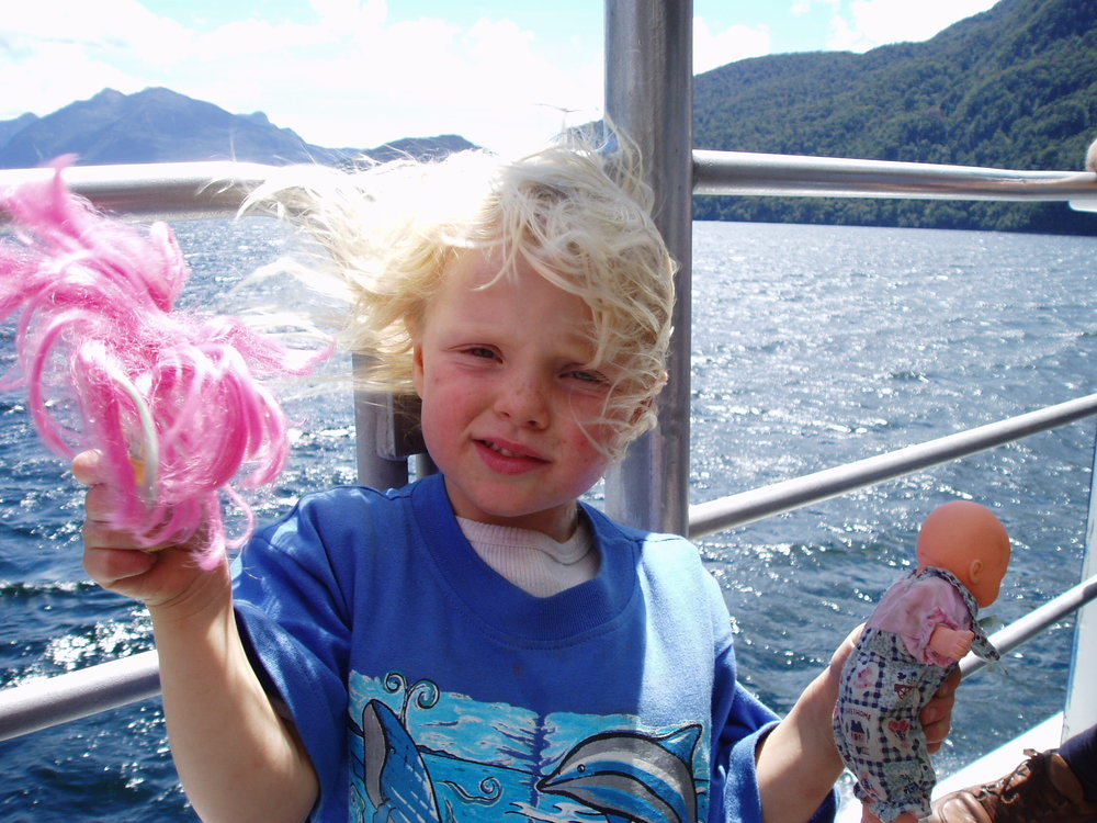 Freya's main interest on the Doubtful Sound day out, 2004.