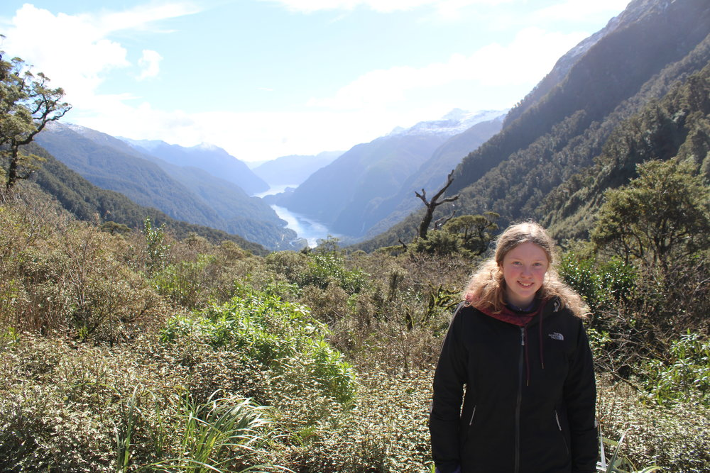 Freya at Wilmot Pass, 2018. Doubtful Sound in the background.