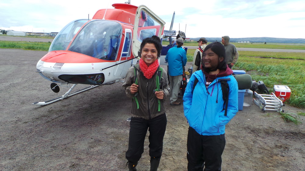 Vani Mohit and Alice Lévesque ready to sample the permafrost thaw ponds