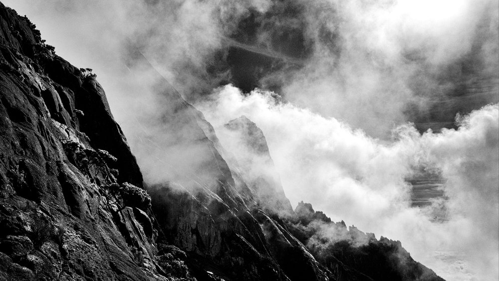 The rocky granite faces of Mount Kinabalu