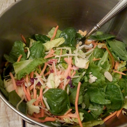 Typical salad - in a mixing bowl (one serving!)