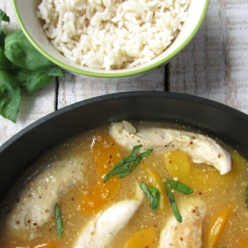 Peach Basil Chicken Skillet