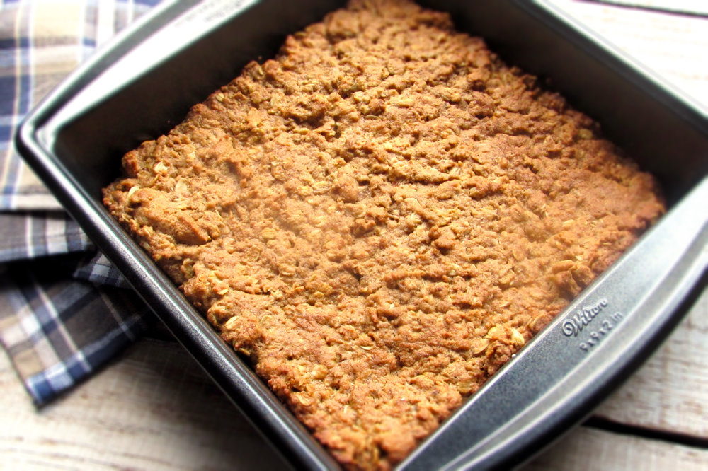 Recipe adapted from Peanut Butter-Oatmeal Bars in  The Pink Ribbon Diet