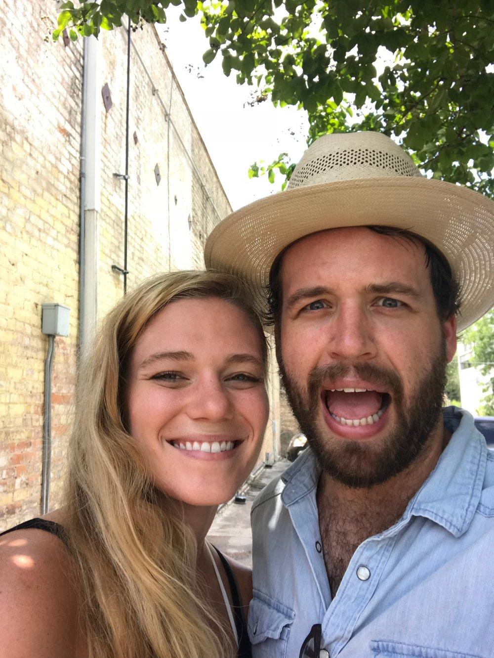 Jordan & I enjoying the blistering summer heat in Austin