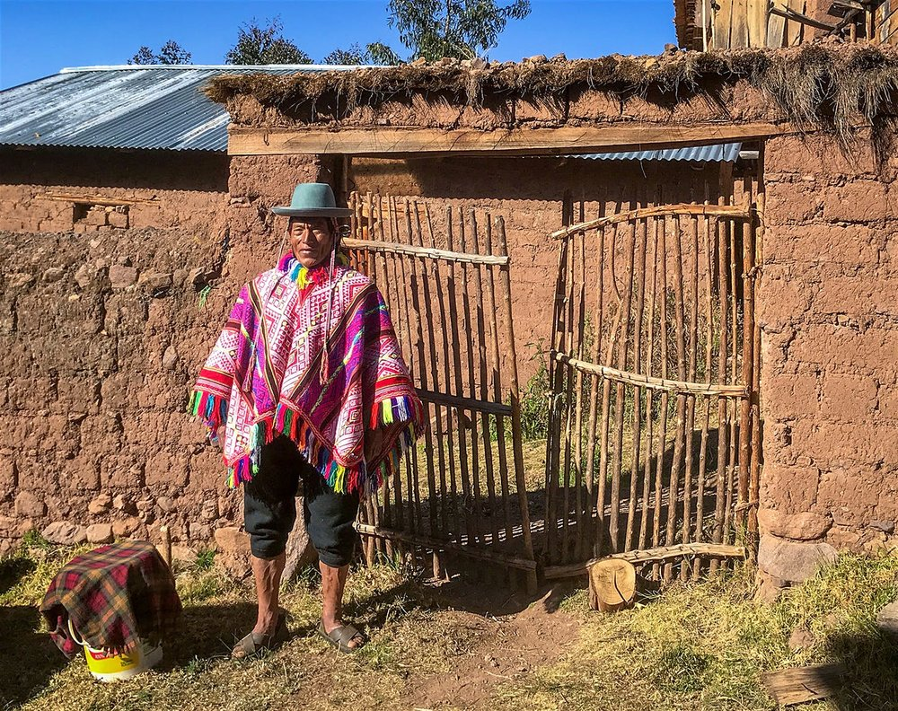 This is Pedro Quispes. He has worked on the Inca Trail for five years and we should all admire both his clothing and his fortitude.