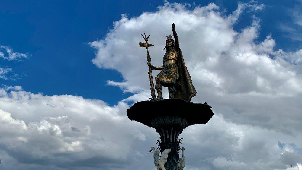 Statue of Pachacuti, the Plaza de Armas, Cusco