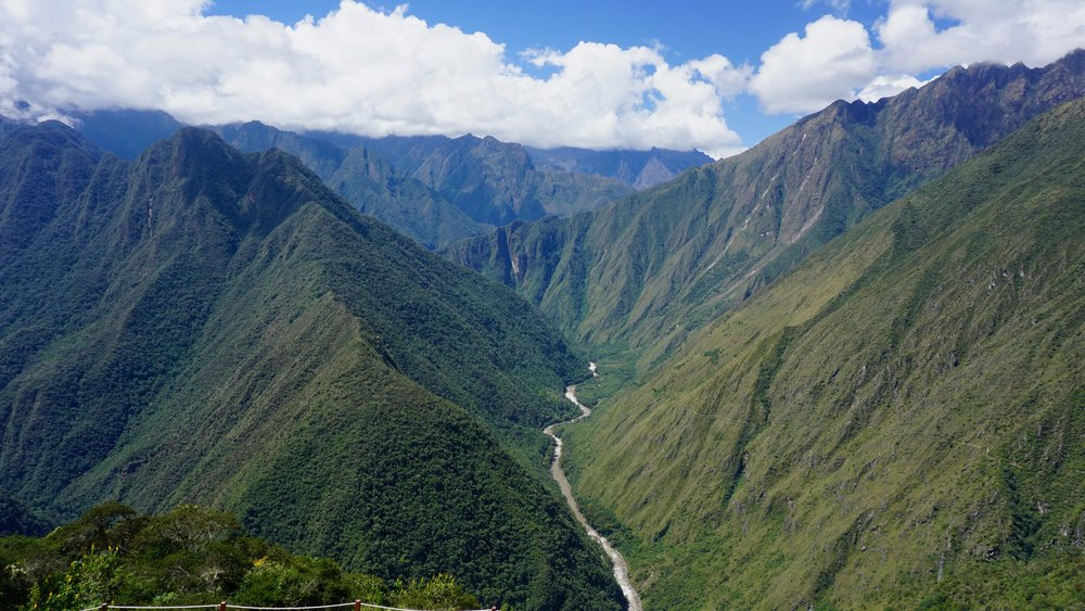 View of the Urubamba river valley from Wiñay Wayna