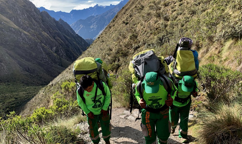"""Our incredible porters, nicknamed """"The Green Machine"""" and """"Super Chaskis"""""""