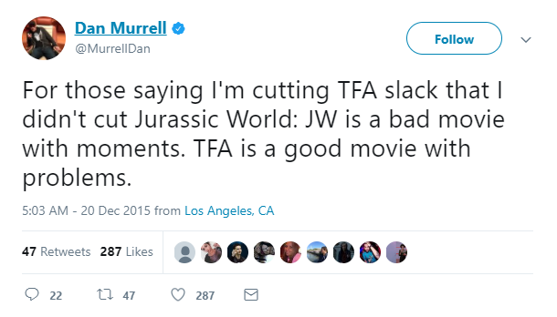 Tweet from Dan Murrell, comparing TFA (The Force Awakens) to JW (Jurassic World).