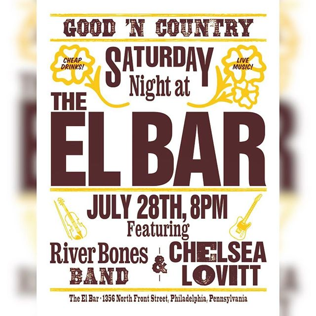 What up, y'all - we got a 🔥hot ⭐️ rare 🌈 Philly show TOMORROW 7/28 at @theelbarphilly 8pm sharp! 5 bux! #goodncountry w/ @odaveshepherd and @chelsealovitt - be there or be SQUARE 🎶 🕺💃🏻