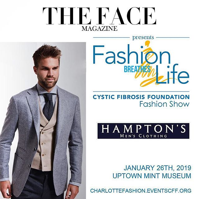 We introduce feature menswear design house @hamptonsmens to grace the runway this Saturday, January 26th. An event close to our hearts, we are thrilled to present 'Fashion Breathes Life' gala and fashion show to benefit the Cystic Fibrosis Foundation at @themintmuseum! . . . #runway #gala #charity event #fashionshow #soiree #nightout #charlotte #happening #weekend #newyear #highfashion #designer #luxury #lifestyle #model #menswear #customsuits #bestdressed #fashion #style