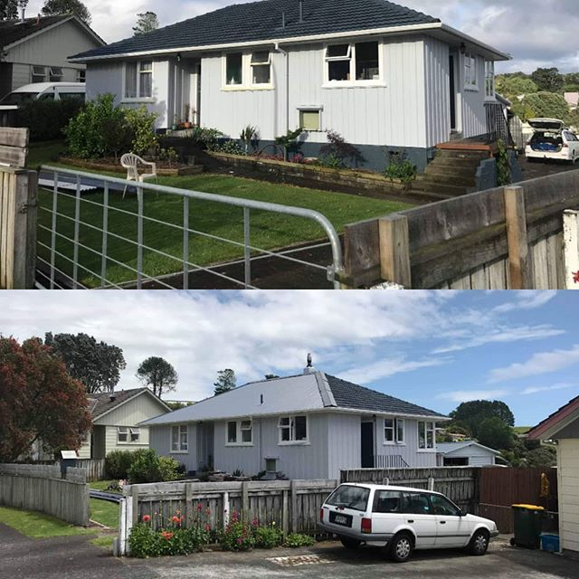 #beforeandafter neighbor's painted tile roof converted to a sleek new #newdenimblue #longruniron from NZ made Colorsteel. This much light option takes a huge weight off of your home's foundation
