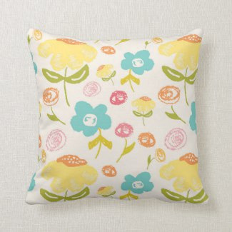 budding garden illustration pillow mockup