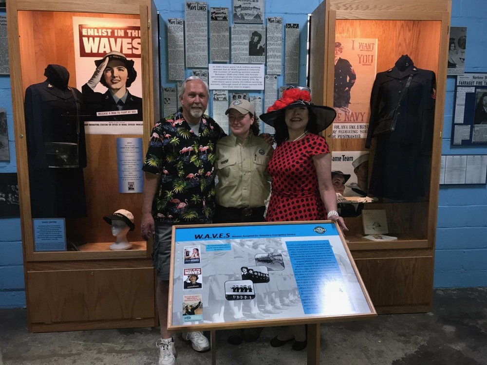 The new Women of World War II Exhibit - John, and Julia with Park Ranger Errin Bair