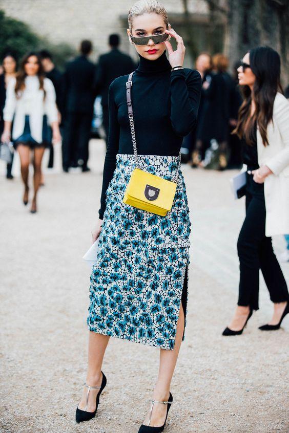 Blue Print Pencil Skirt