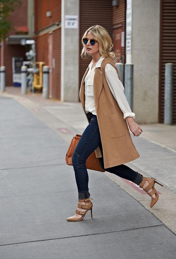 Camel Brown Sleeveless Blazer Coat