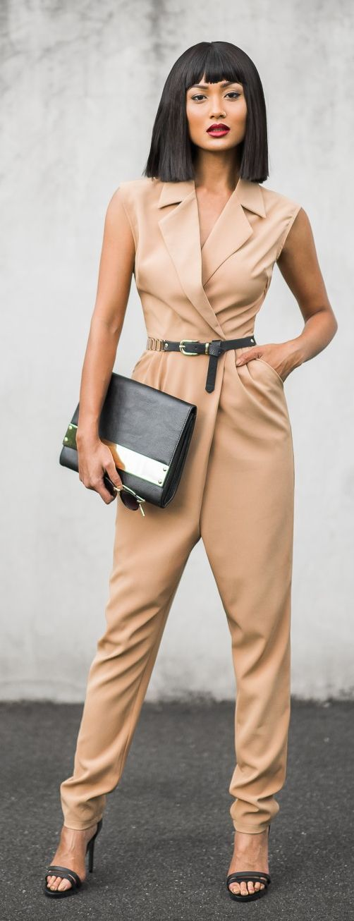 Camel Brown Jumpsuit With Belt