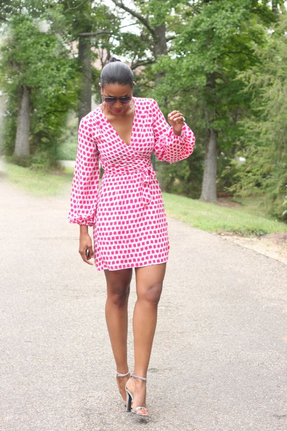 Red and White Printed Wrap Dress
