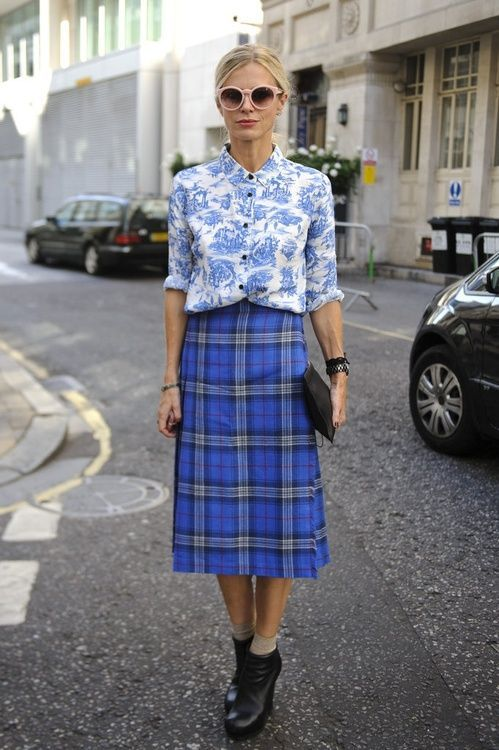 Blue Plaid Print Fashion Outfit