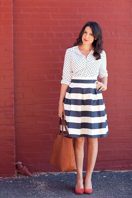 Black and White Stripe Print Fashion Outfit