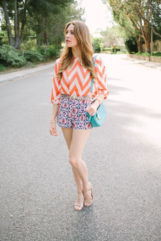 Chevron Orange Print Fashion Outfit