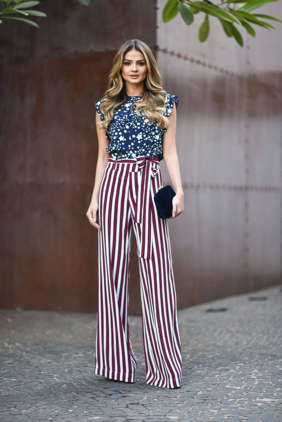 Stripe Pants Star Blouse Print Fashion