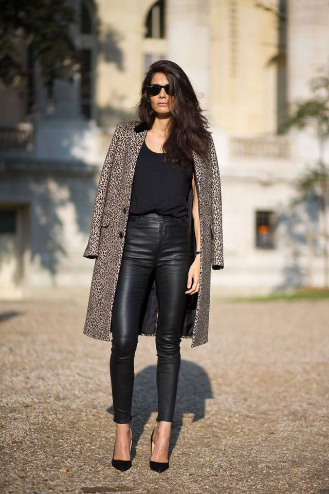 Leopard Print Coat With Leather Pants