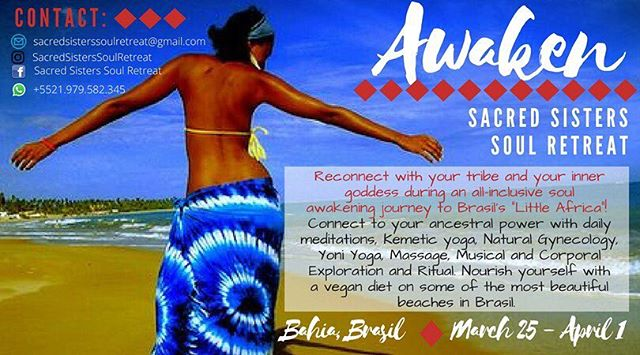 Looking for a retreat this spring?  Visit @sacredsisterssoulretreat to find out more about this incredible 8 day retreat in Salvador, Bahia, Brasil from March 25 to April 1. You will have the opportunity to explore the rich history of Salvador, practice Kemetic and Kundalini yoga, tantric meditations, dance, and of course, spend time on the beautiful beaches. Details are available on the flier, @sacredsisterssoulretreat and Under the Baobab website (Link in bio). Make sure to reserve your spot.  #retreats #selfcare #tantra #brasil #salvador #bahia #awaken #yoga #ritual